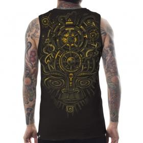 "T-shirt sans manches PlazmaLab \\\""Nightvision Tank\\\"", Marron foncé"