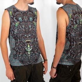 "T-shirt sans manches Yacxilan \""BaliHigh\"", Bleu et marron"