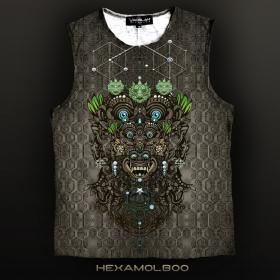 "T-shirt sans manches Yacxilan \\\""Hexamolboo\\\"", Kaki"