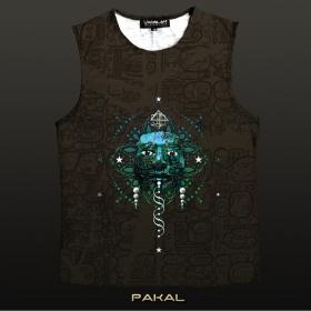 """T-shirt sans manches Yacxilan \\\""""Pakal\\\"""", Chocolat"""