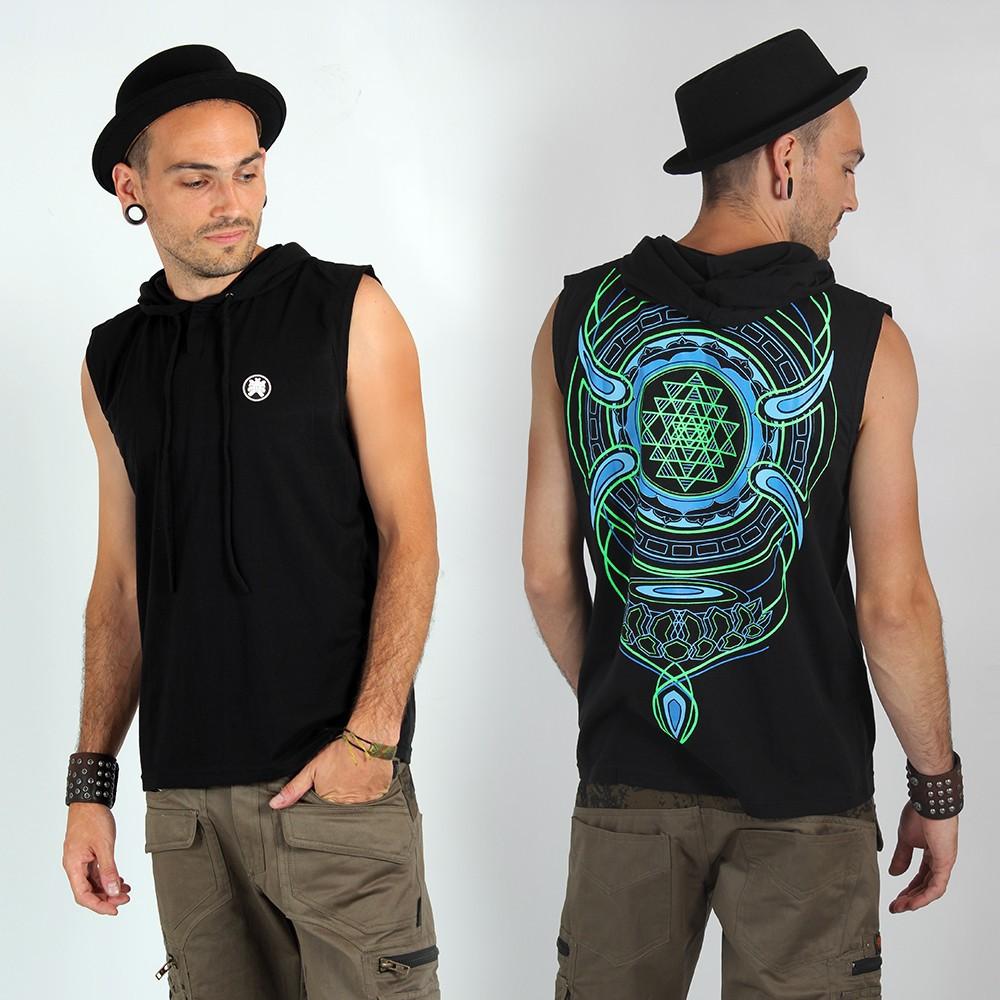 """T-Shirt Shaman \""""Lotus Sri Yantra\"""", Noir"""