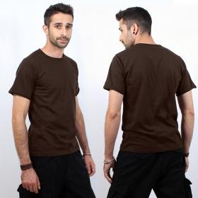 "T-shirt uni \""woonwai\"", chocolat"