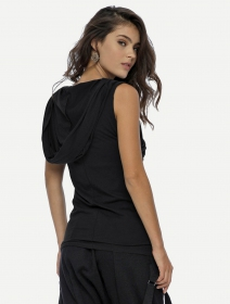 """T-shirt unisexe à capuche \""""Kuan\"""", Noir"""