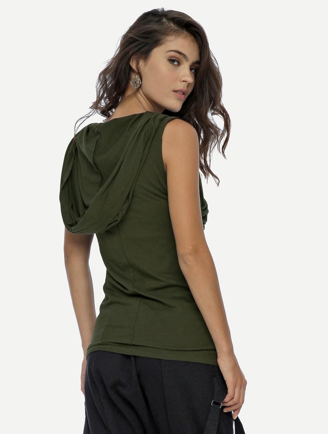 """T-shirt unisexe à capuche \""""Kuan\"""", Vert kaki"""