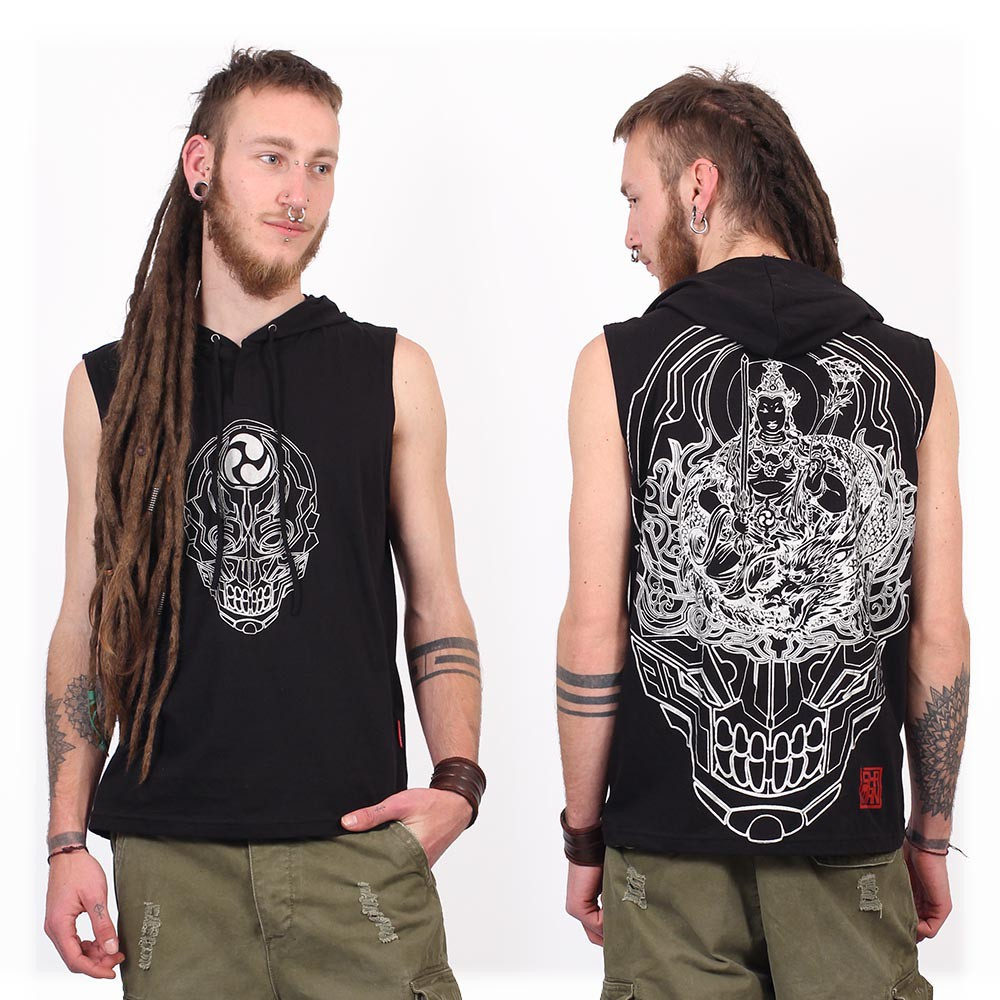 """Tee Shirt Shaman \""""Manjus\"""", Noir"""