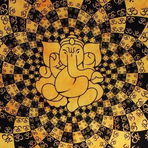 Tenture \\\'\\\'Ganesh many Ohm\\\'\\\', Jaune