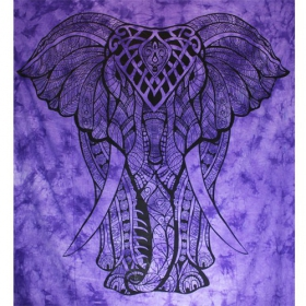 Tenture \\\'\\\'Geometrical Elephant\\\'\\\', Violet