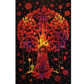 """Tenture \""""Arbre de Bouddha\"""", Orange et noir"""