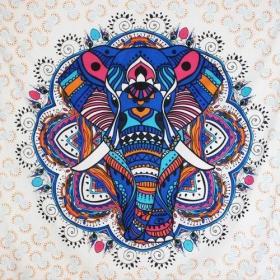 "Tenture \""Big Elephant Mandala\"", Bleu"