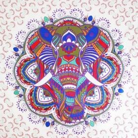 "Tenture \""Big Elephant Mandala\"", Violet"