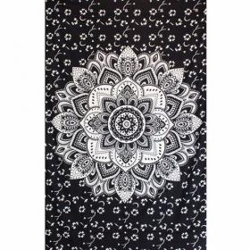 """Tenture \""""Black Lotus\"""", Noir et blanc"""