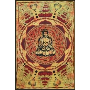 "Tenture \""bouddha lotus\\\"" 1,40 x 2,20 m  orange"