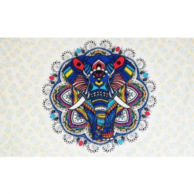 "Tenture ""Colourful elephant mandala\"", Bleu"