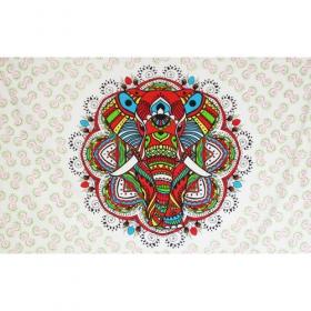 "Tenture \""Colourful elephant mandala\"""