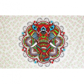 "Tenture ""Colourful elephant mandala\"""