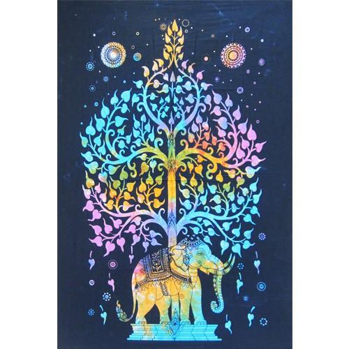"Tenture \\\""Elephant\\\"", Fluo muticolor 1m x 0,80m"