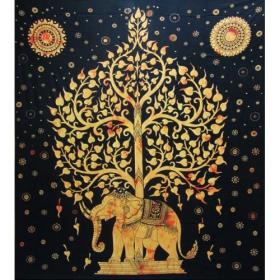 "Tenture \\\""Elephant\\\"", Jaune 2,10m x 2,40m"