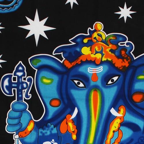 """Tenture \""""Ganesh Colors\"""", Bleu et noir"""