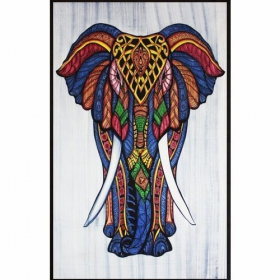 "Tenture ""Geometric Elephant\"", Multicolore"
