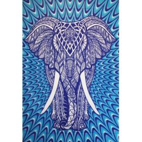 """Tenture \""""Geometrical Elephant\"""", Bleu psyché"""