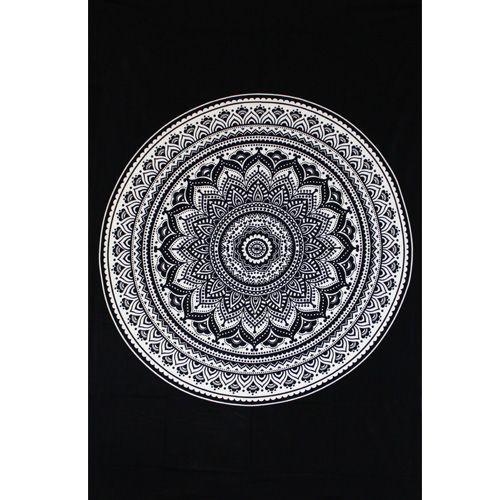 tenture indian black mandala noir et blanc. Black Bedroom Furniture Sets. Home Design Ideas