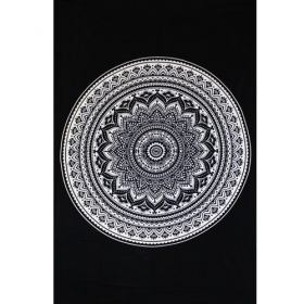 "Tenture ""Indian black Mandala\"", Noir et blanc"