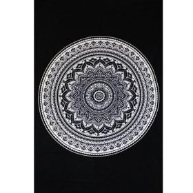 "Tenture \""Indian black Mandala\"", Noir et blanc"