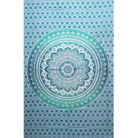 "Tenture \""Lotus Mandala\"", Vert et blanc"
