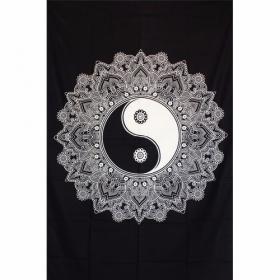 """Tenture \""""Lotus Yin Yang\"""", Noir et blanc"""