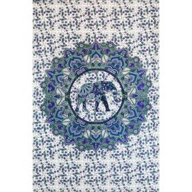 """Tenture \\\""""Mandala Elephant haathee\\\"""", Bleu"""