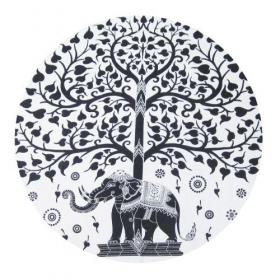 """Tenture \\\""""Roundie Elephant\\\"""" Noire et blanche"""