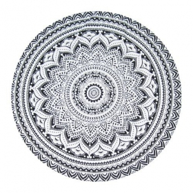 """Tenture \\\""""Roundie Flower Mandala\\\"""" Noire"""