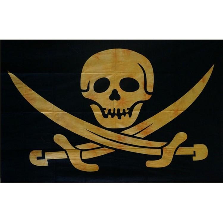 "Tenture \\\""skull pirate\\\"" jaune 1,40 x 2,20 m"