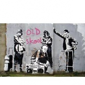 "Tenture/bâche \\\""old skool\\\"" by banksy"
