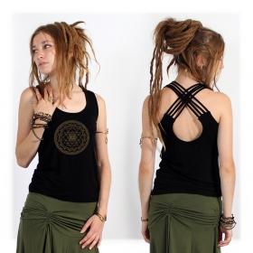 Top Sacred Geometry noir, débardeur yoga avec motif yantra, géométrie sacrée, yoga top sri yantra clothing festival