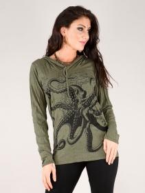 """Top capuche \""""Octopus\"""", Vert kaki"""