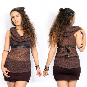 "Top en crochet ""Nephilim\"", Marron"