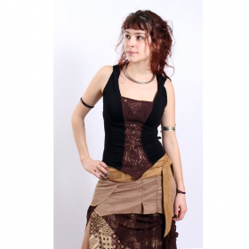 "Top liloo \""lace\\\"", noir-marron"