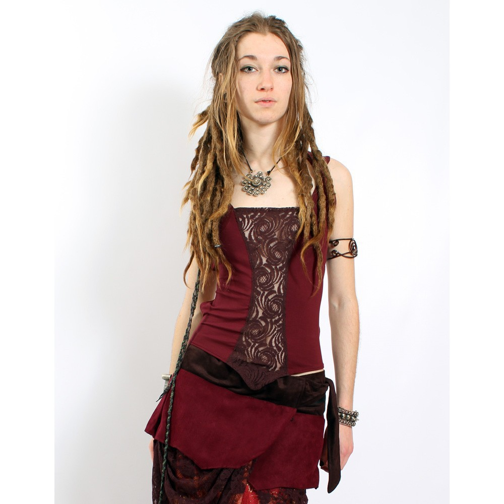 "Top Liloo ""Lace\"", Rouge foncé marron"