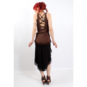 "Top luna \""krisskross lace\\\"", marron"
