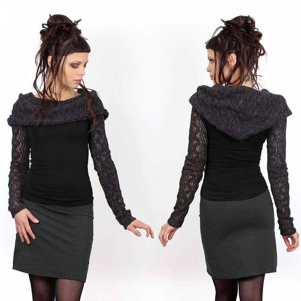 """Top manches longues crochet \""""Atmäa\"""", Noir et gris"""