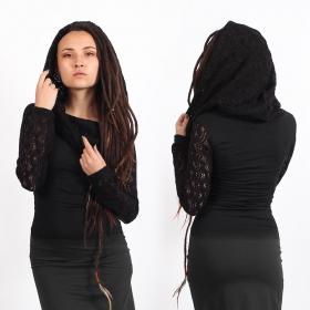"Top manches longues crochet \""Atmäa\"", Noir"