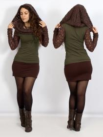 "Top manches longues crochet \""Atmäa\"", Vert kaki et marron"