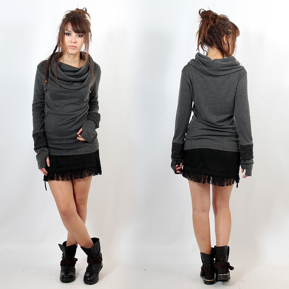 "Top sweat ""Chayan\"", Marron uni"