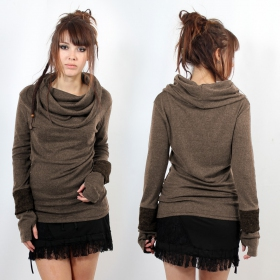 "Top sweat ""Chayan\"", Taupe"