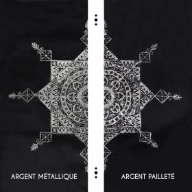 """Tunique nouée """"Toonz Mandala"""", Noir et argent"""