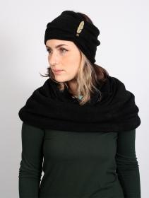 "Turban avec plume \""Aikköoz\"", Noir"