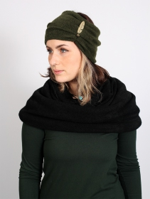 "Turban avec plume \""Aikköoz\"", Vert kaki"