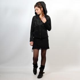 "Veste capuche ronde GadoGado \""Tara Paisley\"", Noir"