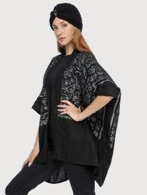 """Veste kaftan \""""Kimono\"""", Noir motifs gris"""